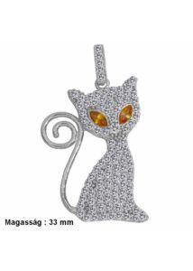 Csillogó cica medál, ezüst ékszer