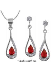 Piros köves fülbevaló medál nyaklánc ékszergarnitúra, ezüst ékszer