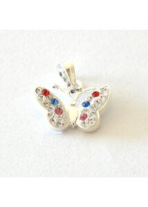 Swarovski crystal kövekkel díszített lepke medál, ezüst ékszer AKCIÓ !!