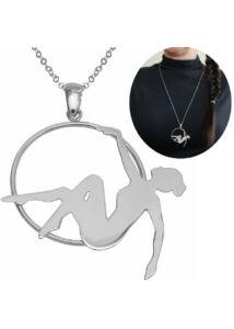 Aerial hoop légtornász medál nyaklánccal, ezüst ékszer