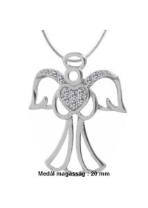 Angyalka védelmező medál nyaklánccal, ezüst ékszer több hosszúságban
