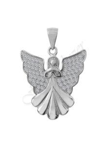 Angyalka medál csillogó szárnyakkal ezüst ékszer.