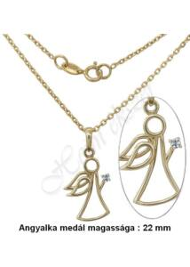 Áttört angyal medál, nyaklánc garnitúra, arany szimbólum ékszer