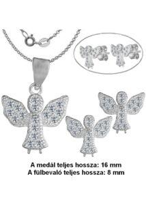 Angyalkás fülbevaló, medál nyaklánccal, ezüst ékszer