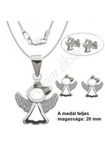 Angyalka medál, nyaklánc, fülbevaló, ezüst ékszer.