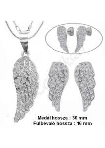 Angyalszárny fülbevaló, medál nyaklánc ékszerszett, ezüst ékszer több méretben