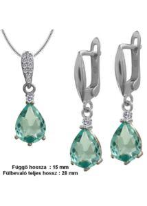 Aquamarin kék köves fülbevaló medál nyaklánc ékszergarnitúra, ezüst ékszer