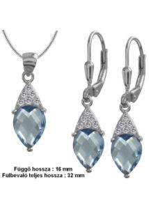 Aquamarin kék köves fülbevaló medál nyaklánc ékszerszett, ezüst ékszer