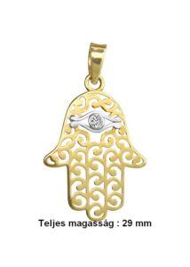 Fatima keze ( hamsa ) védelmező arany medál ( nagy )