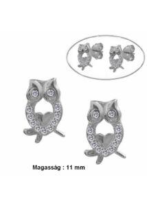 Bagoly fülbevaló, ezüst szimbólum ékszer