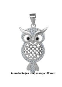 Bagoly medál, kövekkel díszített ezüst ékszer