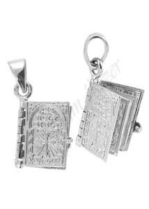 Biblia medál, lapozható ezüst ékszer