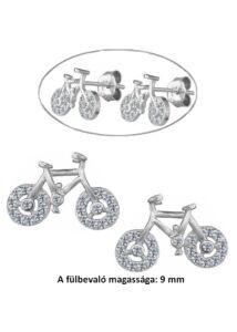Bicikli fülbevaló, ezüst ékszer