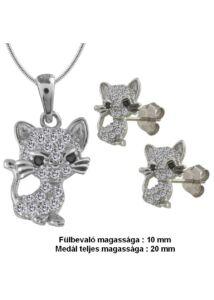 Cica fülbevaló medál nyaklánc ékszergarnitura, ezüst ékszer