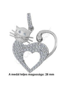Szíves cica medál, ezüst ékszer