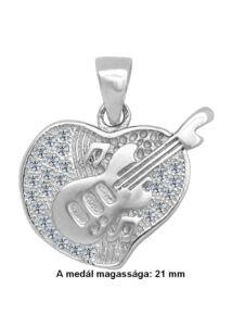 Csillogó szíves gitár medál, ezüst ékszer