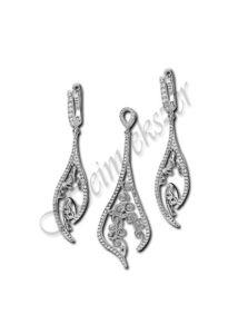 Exclusive filigrán ezüst fülbevaló, medál garnitúra