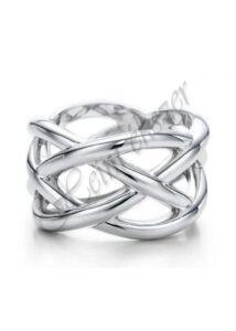 Fonott mintás ezüst gyűrű, ezüst ékszer minden méretben