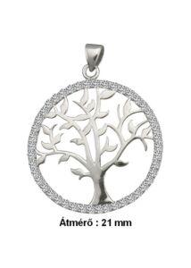 Életfa medál, fehér arany szimbólum ékszer ( átmérő 21 mm )