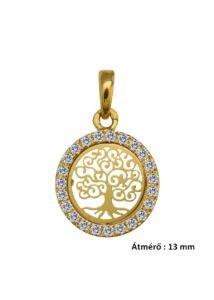 Életfa medál pici, arany szimbólum ékszer