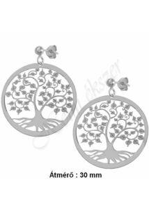 Életfa, világfa fülbevaló, ezüst szimbólum ékszer