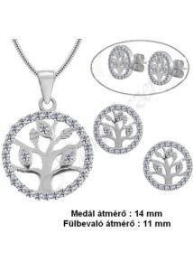 Életfa medál, nyaklánc, fülbevaló pici ékszergarnitúra, ezüst ékszer