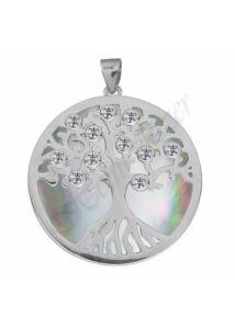 Életfa medál kagylóhéj betéttel, ezüst ékszer