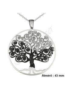Életfa medál, nyaklánc garnitúra, ezüst szimbólum ékszer ( 4 cm átmérő )