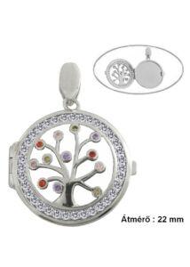 Életfas fényképtartó nyitható medál, ezüst ékszer