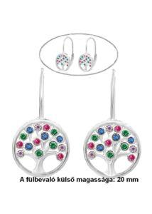 Életfás színes köves patentos fülbevaló ezüst ékszer