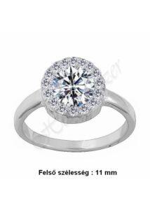 Gyémánt gyűrű fazonú ezüst gyűrű, ezüst ékszer minden méretben