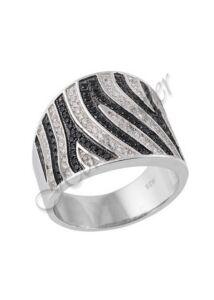 Fekete fehér köves gyűrű, ezüst ékszer ( utolsó darabok )