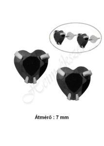 Fekete Swarovski kő szív fülbevaló, ezüst ékszer