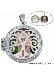 Fényképtartó gyógyszertartó nyitható életfa medál, ezüst ékszer