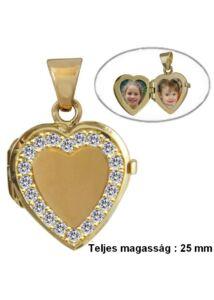 Fényképtartó nyitható szív medál, arany ékszer