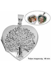 Fényképtartó nyitható szív életfás medál, ezüst ékszer