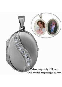 Fényképtartó nyitható medál ovális, ezüst ékszer