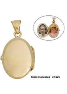 Fényképtartó nyitható ovális medál, arany ékszer