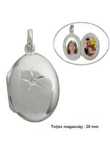 Fényképtartó nyitható ovális medál, ezüst ékszer