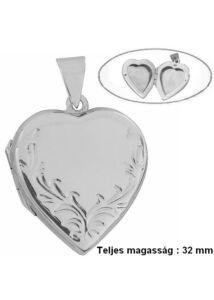 Fényképtartó nyitható szív medál, ezüst ékszer barokk mintával