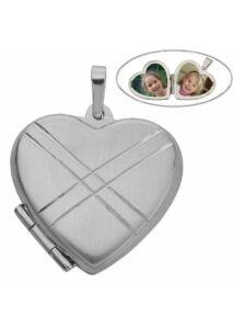 Fényképtartó nyitható szív medál, különlegesen szép ezüst ékszer