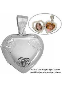 Fényképtartó nyitható szív medál, ezüst ékszer