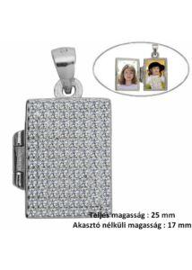 Fényképtartó nyitható téglalap alakú csillogó medál, ezüst ékszer
