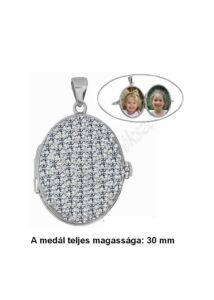 Fényképtartó nyitható medál, szikrázóan csillogó ezüst ékszer