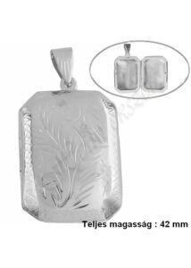 Fényképtartó téglalap alakú nyitható medál, ezüst ékszer NAGY