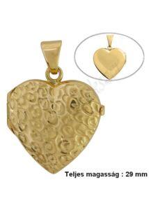 Nyitható szív fényképtartó medál, arany ékszer NAGY