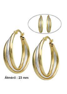 Arany fonott karika fülbevaló, arany ékszer