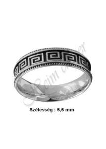 Görög mintás, zománcozott, férfi ezüst gyűrű, ezüst ékszer