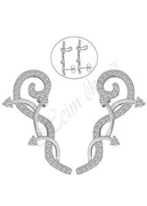 Fülre simuló fülékszer, ezüst fülbevaló