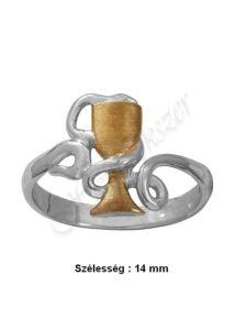 Gyógyszerész, kehelyre tekeredő kígyó gyűrű, ezüst ékszer